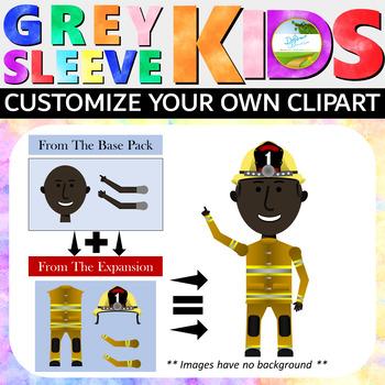 Police Clip Art, Firefighter Clip Art, EMS Clip Art: Grey Sleeve Kids Expansion