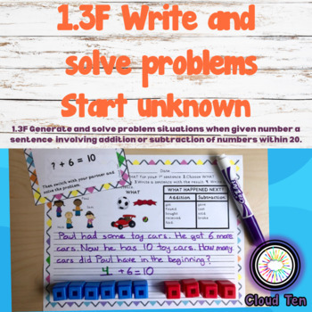 1.3F Generate & solve problem situations (Start unknown)