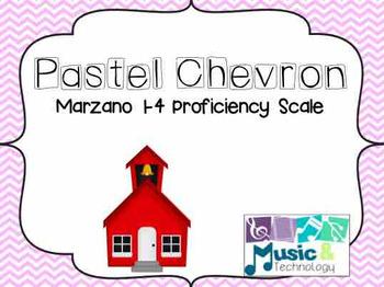 1-4 Marzano Proficiency Scale for the Music Room- Pastel Chevron