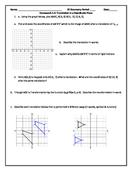 Translation in the Coordinate Plane PDF
