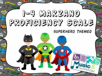 1-4 Marzano Proficiency Scale- Superhero Theme