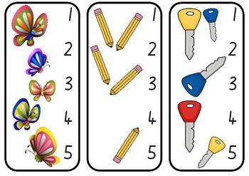 1-5 Counting Peg Cards