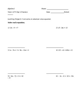 1.5 Day 2 Practice - Solving Absolute Value Equations