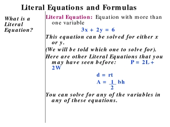 1-5 Literal Equations
