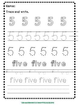 1-5 Number Activities Packet