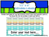 "1.5 x 8"" Editable Shelf Markers for your Library Media Center - Cloud Quatrefoil"