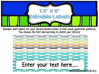 "1.5 x 8"" Editable Shelf Markers for your Library Media Center - Cloud Quatrefoil"