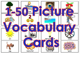 1-50 Picture Vocabulary Cards for Print (100 Cards)
