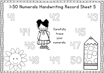 1-50 Handwriting Cards Write and Wipe Center Polka Dot Theme - 14 pages