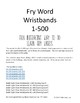 1-500 Sight Words Wristbands