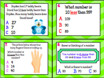 1.5C: 10 More & 10 Less TEKS Aligned Task Cards! (Grade 1 Math)