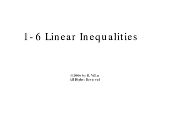 1-6 Linear Inequalities