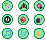 1,653 Green Emoji Badges