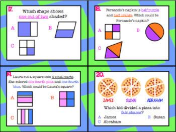 1.6G: Partition 2D Figures TEKS Aligned Task Cards! (Grade 1 Math)