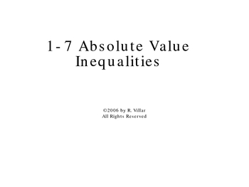 1-7 Absolute Value Inequalities