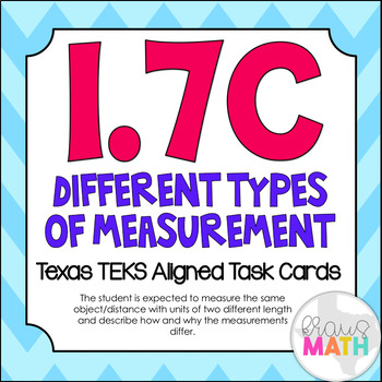 1.7C: Measuring with Different Units TEKS Aligned Task Cards! (Grade 1 Math)