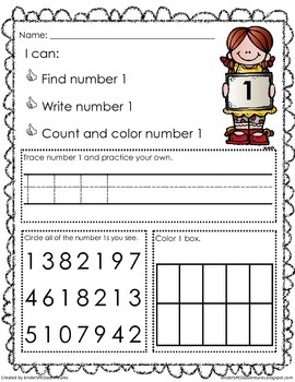 1-9 Number Recognition Worksheets- Common Core Aligned | TpT