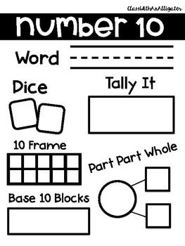1-20 Number Sense Interactive Sheets