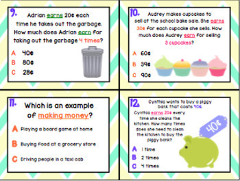 1.9A: Defining Money Earned as Income TEKS Aligned Task Cards! (Grade 1 Math)