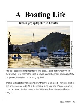 """1 Article """"A Boating Life""""~Reading Test Prep"""