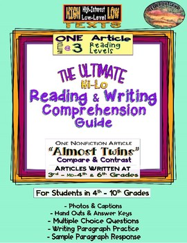 """Hi - Lo Reading & Writing Guide--1 Article Written @ 3 levels ~""""Almost Twins""""~"""