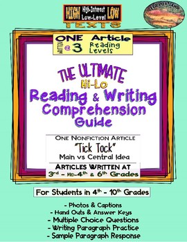"Hi - Lo Reading & Writing Guide--1 Article Written @ 3 levels ~""TICK TOCK""~"