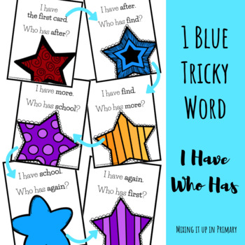 1 Blue (1B) Tricky Word I Have Who Has Game