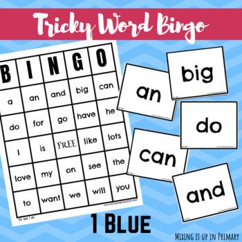 1 Blue (1B) Tricky Words Bingo Game