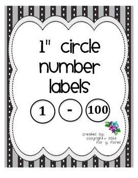 "1"" Circle Numbers (1-100)"