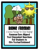 FREEBIE: 1 Common Core Biome Themed Passages for Science Close Reading