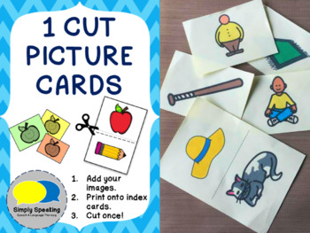 1 Cut Picture Cards Template - Great For Special Ed and SLPs