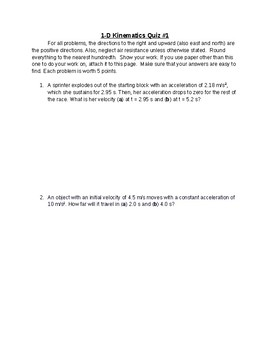 1-D Kinematics Quiz