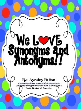 $1 DEAL!! 2 Quick and Easy Synonym/Antonym Stations