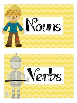 $1 Deals! Wizard of Oz Themed Noun and Verb Sort