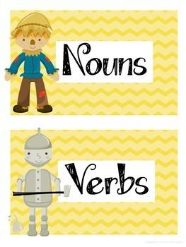 $1 Deals! Wizard of Oz Themed Noun and Verb Sort