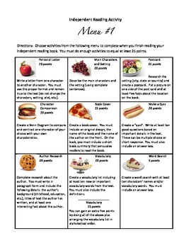 #1 - Differentiated menu of activities for independent reading book