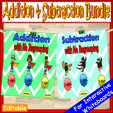1 Digit, 2 Digit & 3 Digit Addition and Subtraction Without Regrouping EDITABLE