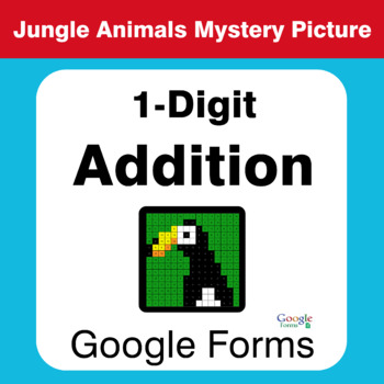 1-Digit Addition - Animals Mystery Picture - Google Forms