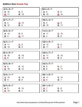 1-Digit Addition Quiz - Test - Assessment - Worksheet