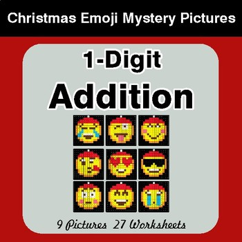 1-Digit Addition - Christmas EMOJI Color-By-Number Math Mystery Pictures