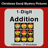 1-Digit Addition - Christmas EMOJI Color-By-Number Mystery