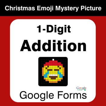 1-Digit Addition - Christmas EMOJI Mystery Picture - Google Forms