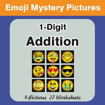 1-Digit Addition Color-By-Number EMOJI Math Mystery Pictures