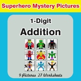 1-Digit Addition - Color-By-Number Superhero Mystery Pictures