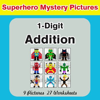 1-Digit Addition - Color-By-Number Superhero Math Mystery Pictures