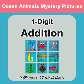 1-Digit Addition - Color-By-Number Mystery Pictures