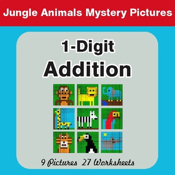 1-Digit Addition - Color-By-Number Math Mystery Pictures