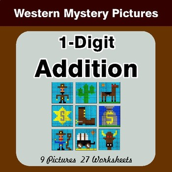 1-Digit Addition - Color By Number Math Mystery Pictures