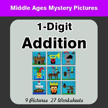 1-Digit Addition - Color-By-Number Math Mystery Pictures - Middle Ages Theme
