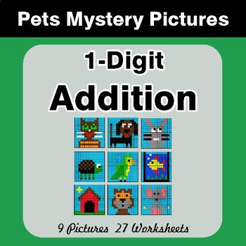 1-Digit Addition - Color-By-Number Math Mystery Pictures - Pets Theme